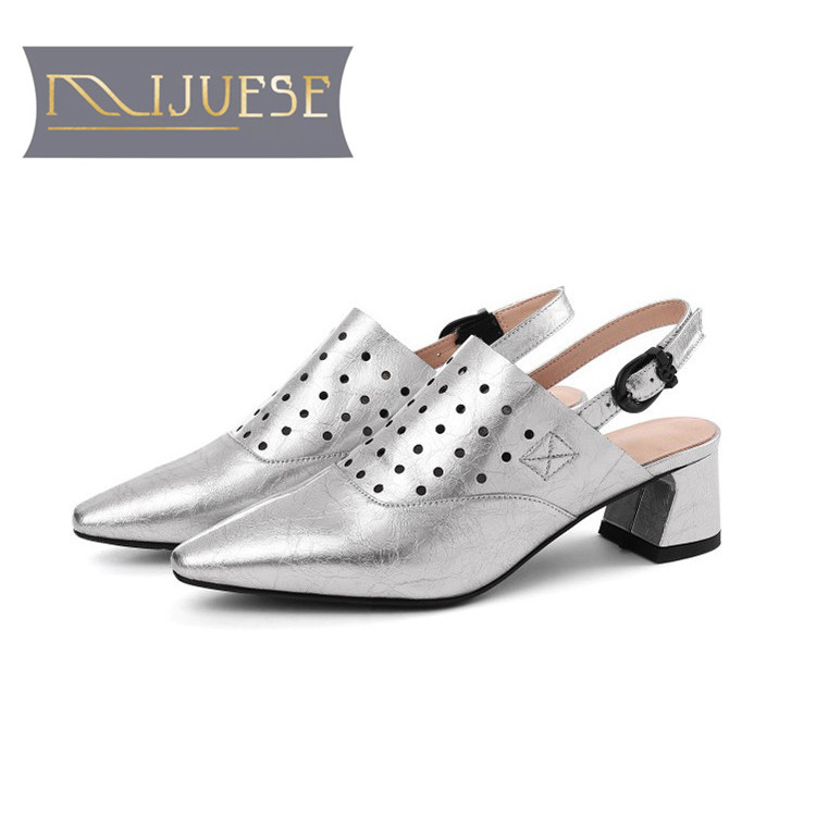 MLJUESE 2018 women sandals Cow leather buckle strap silver color slingbacks square heel pointed toe high heel sandals size 34 42-in Middle Heels from Shoes    1