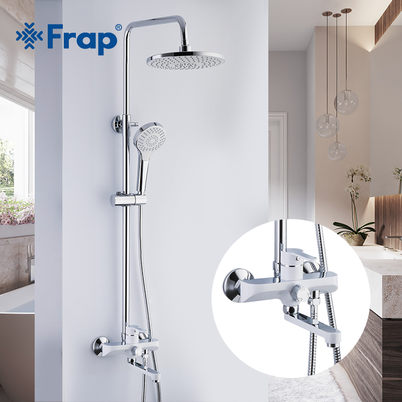 FRAP Sanitary Ware Suite Bathroom Shower mixer bath shower faucet taps rainfall shower head set waterfall bath tub faucet