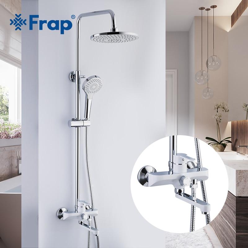FRAP Sanitary Ware Suite Bathroom Shower mixer bath shower faucet taps rainfall shower head set waterfall bath tub faucet