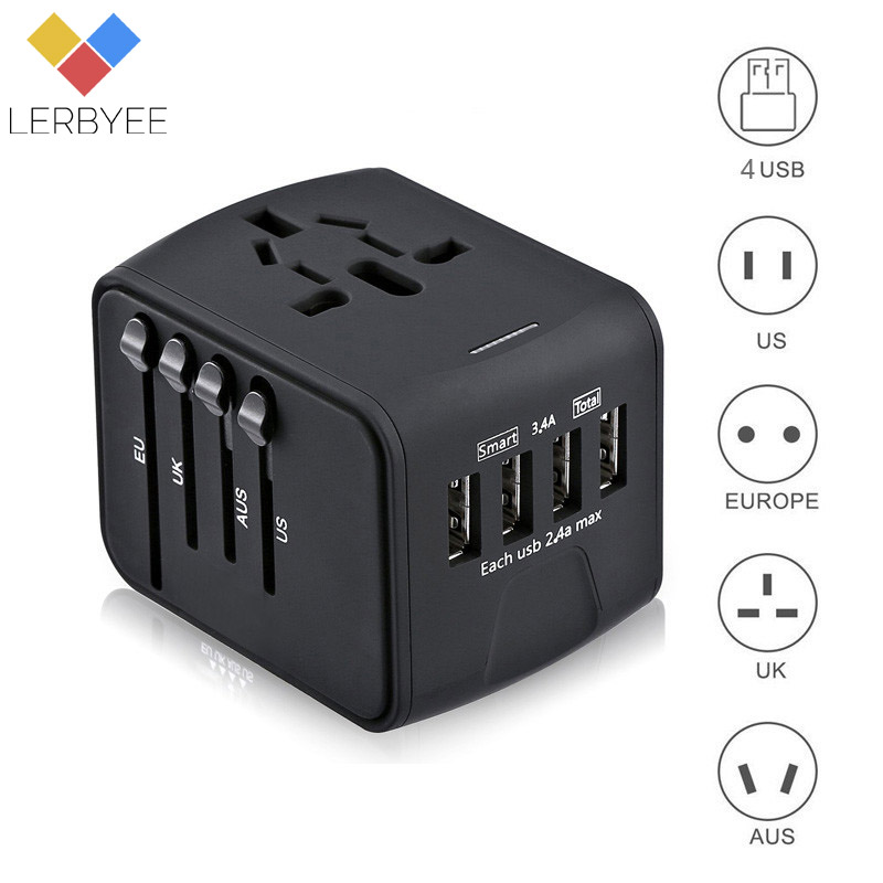 Travel Adapter International Universal Power Adapter All-in-one with 4 USB Worldwide Wall Power Plug Charger for UK/EU/AUS/US all in one universal international plug adapter 2 usb port world travel ac power charger adaptor with au us uk eu converter plug