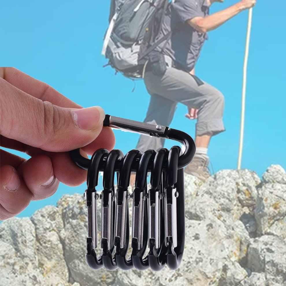 屋外カラビナ D 型太字メタル旅行キットキャンプアルミサバイバルギア登山フック