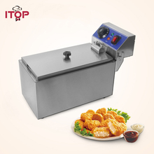 ITOP Electric Deep Fryer Commercial 6L Single Tanks Stainless Steel Fryer French fries Machine Fry Machine 220V стоимость