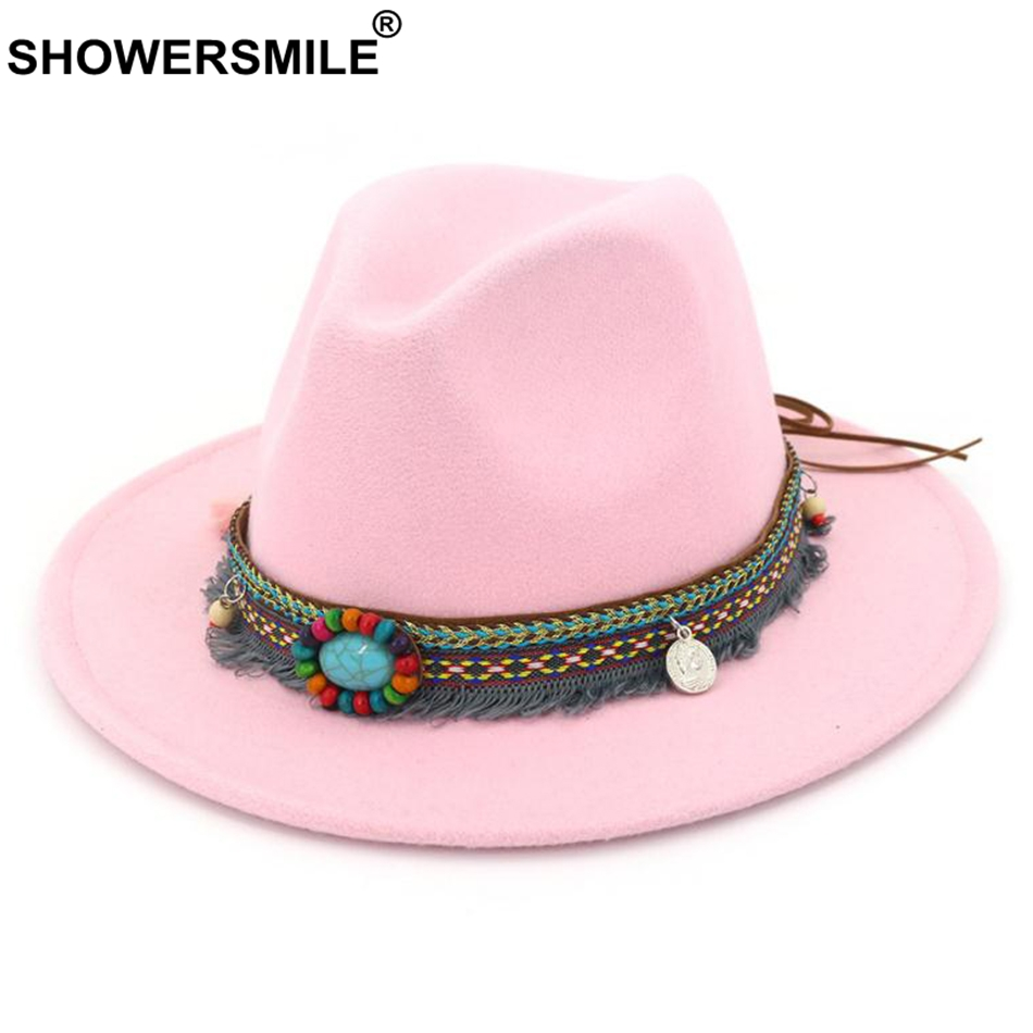 SHOWERSMILE Pink Fedora Ladies Vintage Felt Hat Women Casual Ethnic Style Large Brim Tweed Autumn Winter Jazz Cap Red Black 2019