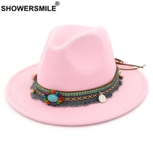 SHOWERSMILE Pink Fedora Ladies Vintage Felt Hat Women Casual Ethnic Style Large Brim Tweed Autumn Winter Jazz Cap Red Black 2020 kyqiao mexican style ethnic vintage black blue embroidery flowers bandanas 2017 women winter original hippie hat free shipping