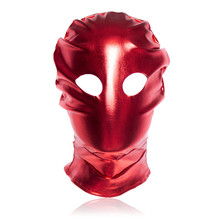 Soft Leather Sexy Red Color Open Eyes Enamel Leather Hood Feitsh Mask Sex Toys For Couples,Adult Bondage Hood Slave Woman Toys