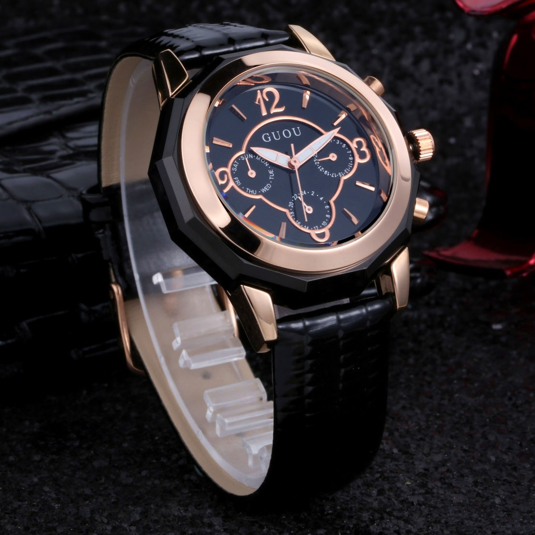 11ae52877038 2018 New AAA Brand GUOU Fashion Luxury Women Dress Watches Wristwatches 3  Eyes Leather Casual Quartz