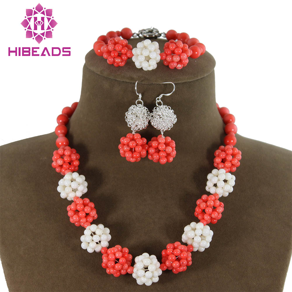New Top Design White Red Coral Jewelry Sets African