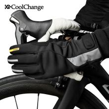 CoolChange Bike Gloves Winter Waterproof Warm Sports MTB Bicycle GEL Long Finger Screen Touch Anti-Slip Cycling