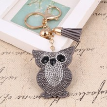 ZOSHI 6 Colors Cute Owl Pendant Leather Key Chain Car Key Ring Holder Gold Color Bag Keychain Rhinestone Key Chains Jewelry