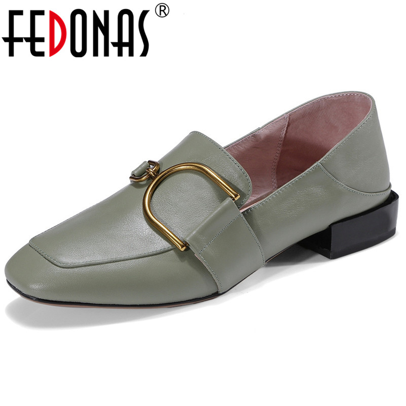 FEDONAS Fashion New Slip On Pumps Thick High Heels Genuine Leather Wedding Party Shoes Woman Buckles