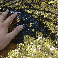 Shinybeauty 5 Yard 4 Ways Gold And Black Sparkly Embrodiery Mesh Lace Sequin Fabric For Clothes