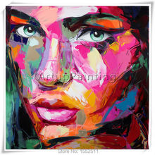 Palette knife painting portrait Francoise Nielly Hand painted Palette knife Face Oil painting Impasto figure on canvas Pop art