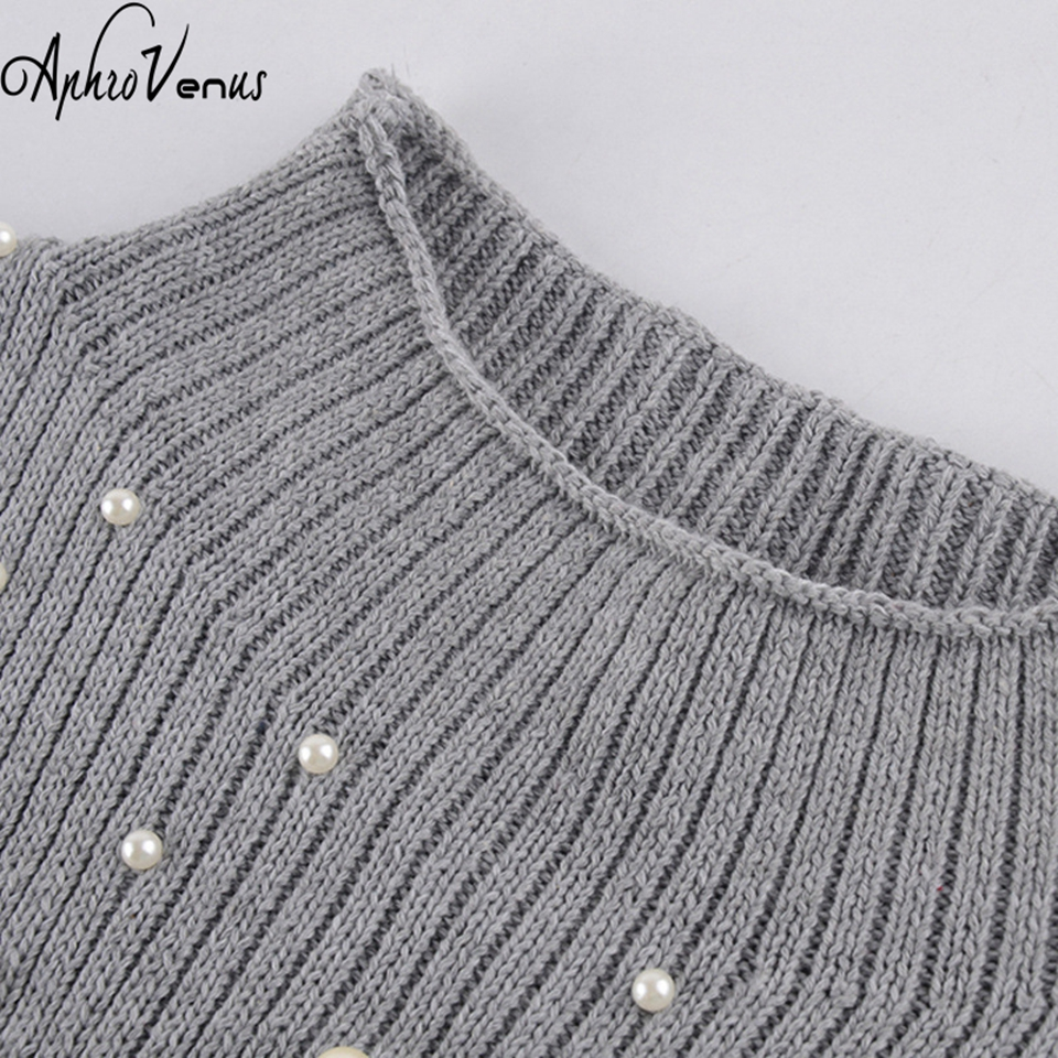 Women Poncho Pearl Beaded Rib Knit Jumper Autumn Winter Womens Pullover  Sweaters Grey Stand Collar Long Sleeve Tight Sweater Top-in Pullovers from  Women s ... 81daaed6f