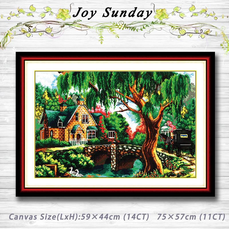 In the woods river villa scener painting 14CT 11CT counted cross stitch kits embroidery set Needlework Set chinese cross stitch