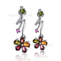 High Quality Handmade Luxury Jewelry 925 Sterling Silver And Natural Tourmaline Gemstone Flower Hanging Stud Earrings