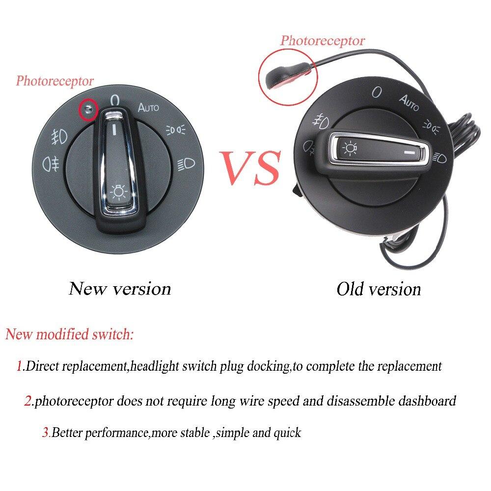 Refit Auto Headlight Switch Light Sensor Module Glossy Chrome For Vw Automatic Brightness Circuit Glof Mk7 13 16 Skoda Octavia 2015 2016 Superb 2017