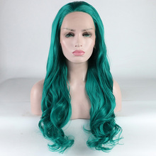 Fantasy Beauty Blue Super Wave hair wigs long blue wavy wig synthetic lace front