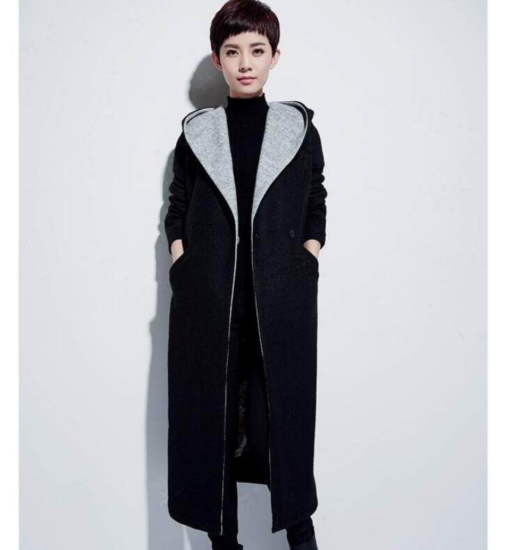 large Collar Hood Wool Coat Winter Coat Women OverSize Wool Jacket Loose Style Plus Size X Long Winter Coat