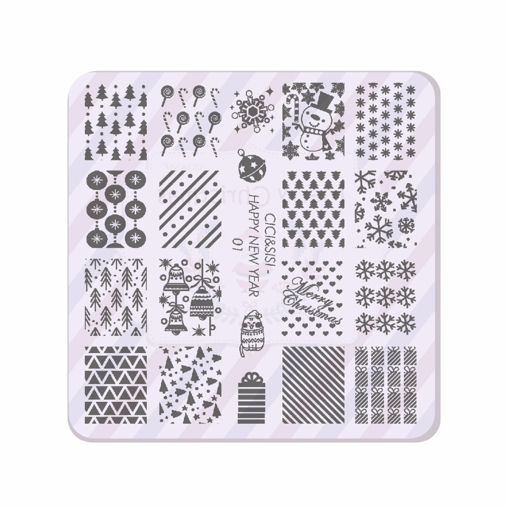 Online Shop CICI&SISI Christmas Nail Stamping Plates Konad Stamping ...