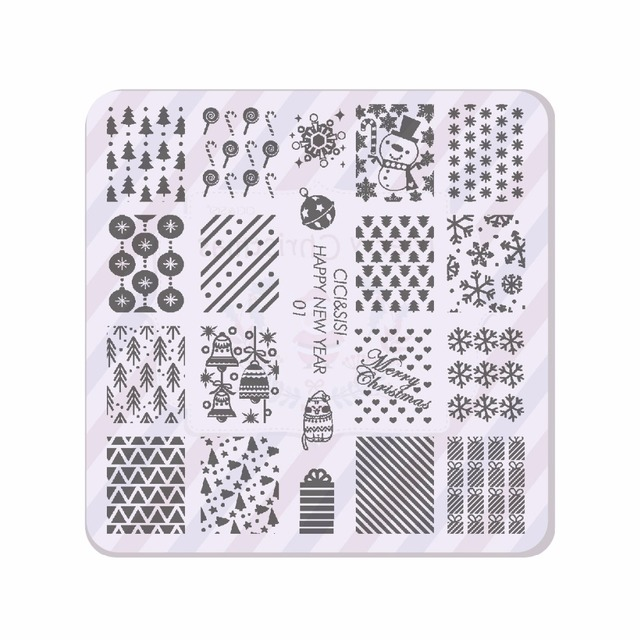 CICISISI Christmas Nail Stamping Plates Konad Art Manicure Template Stamp Tools HAPPY NEW