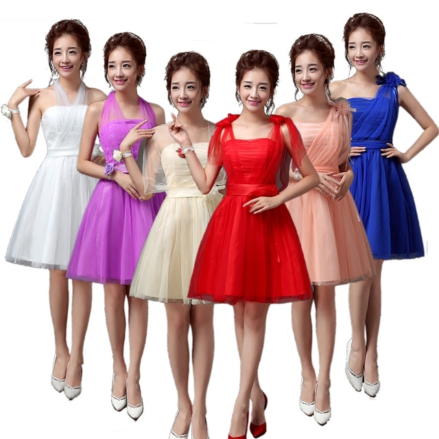 Sweet Memory Summer short knee length Bridesmaid dress bride sisters dresses  11 colors Promotional Price SW0050-28 67e0c5766385