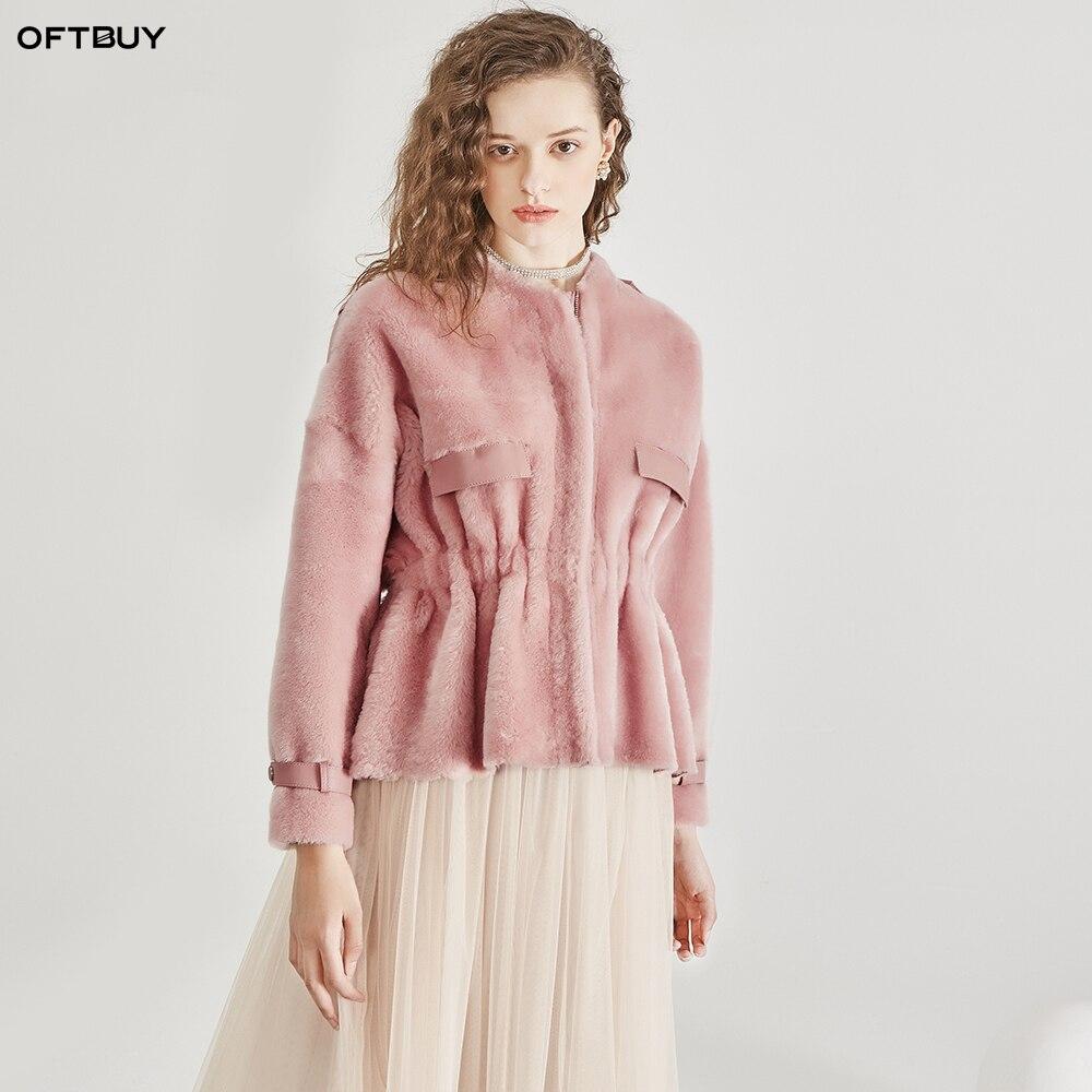 Натуральный мех пальто тонкая талия свободная зимняя куртка женская натуральная овечья шерсть натуральная кожа пальто с подкладкой винтаж
