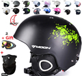 Moon capacete de esqui outono e inverno macho adulto senhoras de neve equipamento de esqui monoboard flanchard esportes saftly capacetes