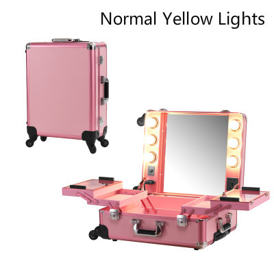 Pink Normal Yellow Lighted Rolling Makeup Case Studio Cosmetic Station Portable Bag for Cosmetics with bulbs without Legs