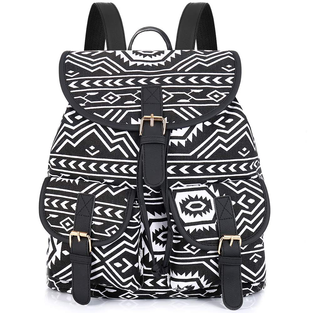 Sansarya Tribal Style Print Canvas Teen Backpack Boho Shcool Bags Bagpack Women Rucksack For Girls Female Drawstring Bag Rugzak ethnic style tribal print elastic waist skirt for women