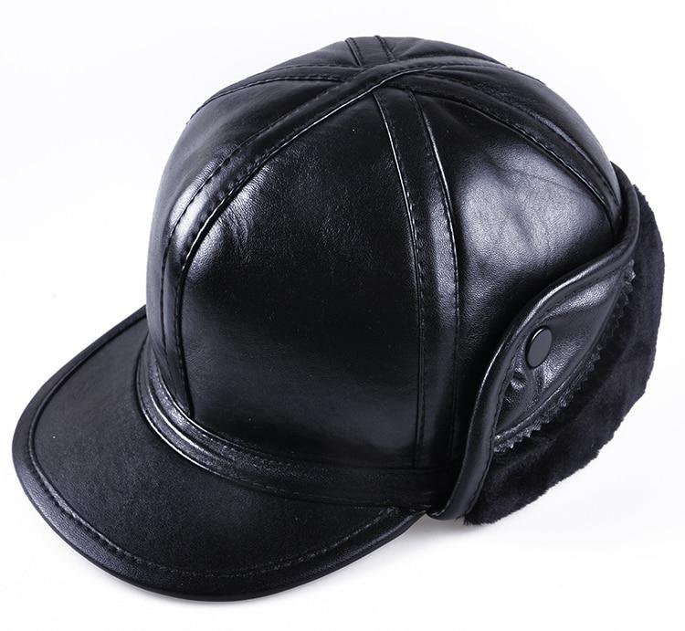 2019 Mode Harppihop Echtem Leder Hut Leifeng Kappe Schaffell Flip Hut Winter Warm Hut Lässige Mode Hut