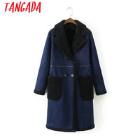 Tangada Fashion Winter Women Long Coat Female Double Breasted Warm Oversized Pocket Ladies Suede Leather Jackets Blue Coats XD66