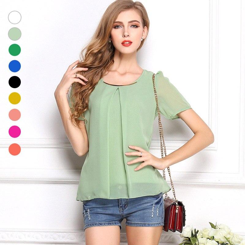 Summer Women Shirts Chiffon Short Sleeve Blouse Pleated Tee Loose Loose Casual Tops FS99