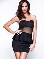 Hot Sale Peplum Dress For Prom 3S2096 Fashion Office Dress Free Shipping Trendy Mesh Patchwork Black