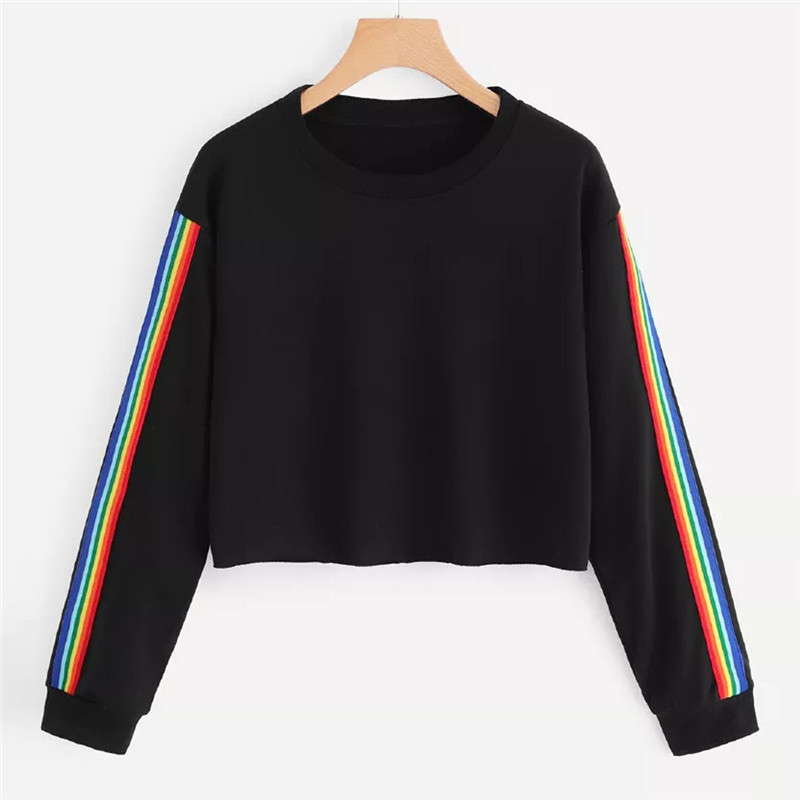 Hoodies & Sweatshirts Korean Style Tops Women Faux Fur Stripe Sweatshirt Dropped Shoulder Long Sleeve Patchwork Casual Warm Pullover Female Jumpers Cheap Sales