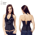 Black Pinstripe Corset Clothing Office Lady Sexy Women Lace up Bustier Suit Costume Plus Size Gothic Slit Corselet
