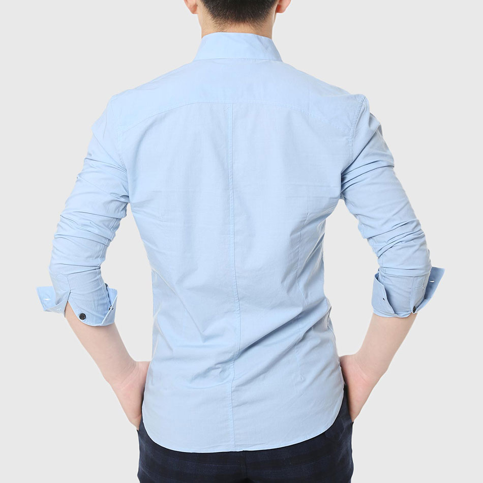 Men Formal Dress Shirts Mandarin Collar Skinny Shirt Long Sleeve