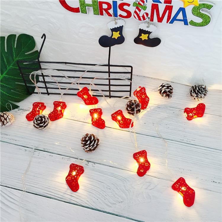 DCOO Weihnachten Socken String Lichter 10 Metall Socken LED Batterie String Lichter Für Weihnachten Home Gärten Park Terrassen Dekoration