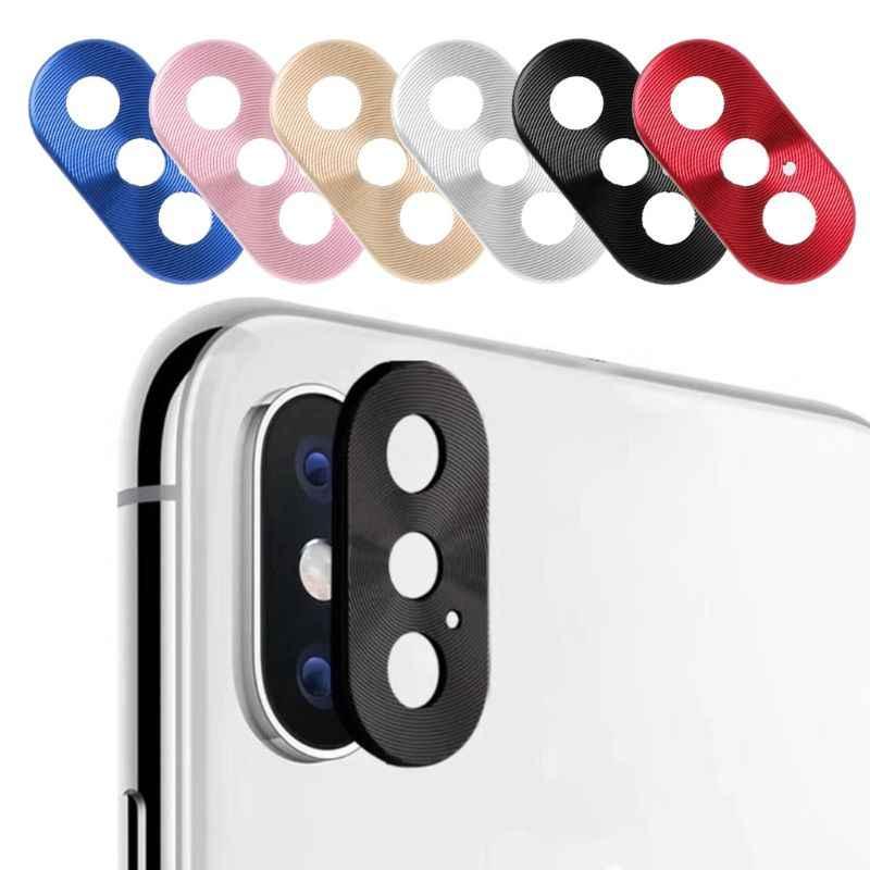 กล้องวงกลมวงกลมโลหะฟิล์มฝาปิดกันชนสำหรับ iphone 7 7 Plus 8 8 Plus X เลนส์แหวน
