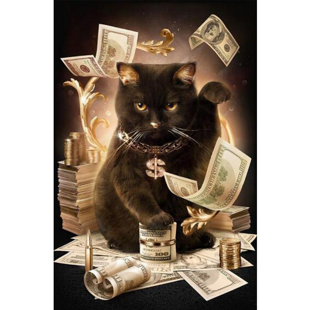 5D Diamond Painting Cat With Cash pattern cross stitch tool kits Full Square Drill mosaic Embroidery handicraft with hobby M161