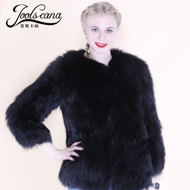 Joolscana real fur coat women jacket winter short jacker 100% real fox fur knitted very soft warm fashion black fox fur jacker