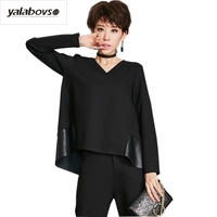 Yalabovso 2017 New Arrival Punk Sexy V Neck PU patchwork Tees A Word styles Loose Bottoming Shirts for woman A67 339824 z15
