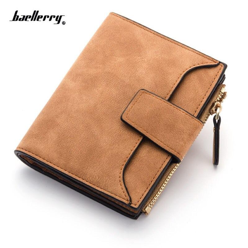 2018 New Nubuck Leather Women Wallet Hasp Short zipper Purse Card Holder Coin Packet Ladies' Clutch wallet Dollar Bag