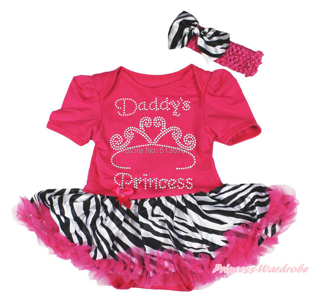 33da468c4c157 Rhinestone Daddy's Princess Hot Pink Bodysuit Zebra Skirt Baby Dress Set NB  12M MAJSA0396-in Bodysuits from Mother & Kids on Aliexpress.com | Alibaba  ...