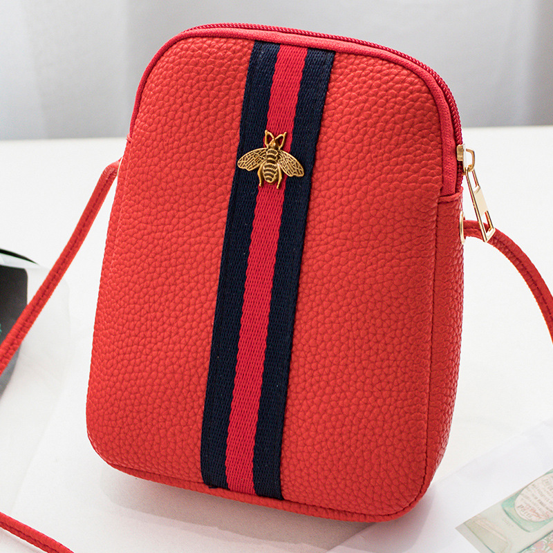 mini PU Women's Small Crossbody Handbag litchi lines Mobile Phone Shoulder Bag Handbag Letter Purse Wallet Small Shoulders bags(China)