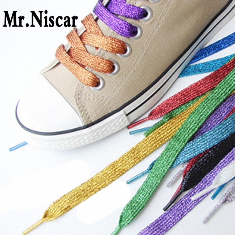Mr.Niscar 1 Pair Gold Silver Colorful Bright Shoelaces 16 Colors 110 cm Sneaker Sport Shoes Laces Bootlaces Shoe Laces StringsMr.Niscar 1 Pair Gold Silver Colorful Bright Shoelaces 16 Colors 110 cm Sneaker Sport Shoes Laces Bootlaces Shoe Laces Strings