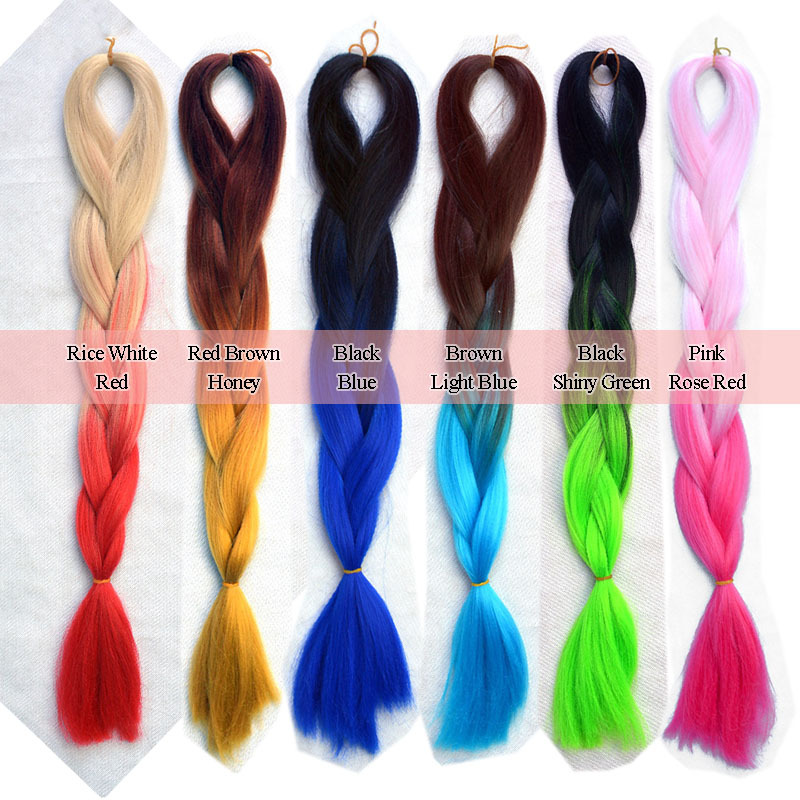 Ombre Bunt synthetic expression braiding hair extension 24inch ombre two tone