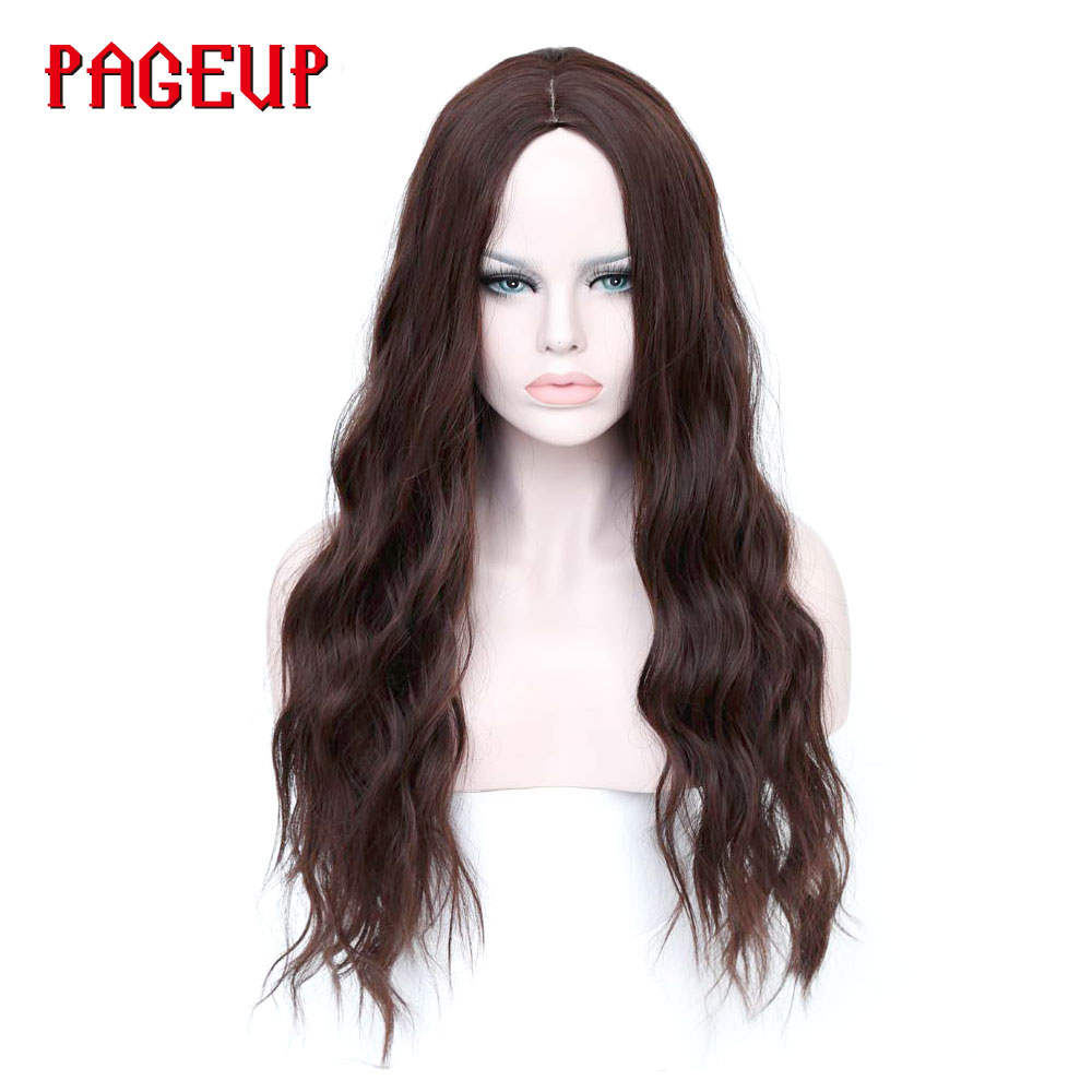 Buy Pageup Long Black Brown Heat Resistant Synthetic Curly Wig 10 Color Afro Wigs For Black Women Pink Bodywave Hair Wig Cosplay for only 16.65 USD