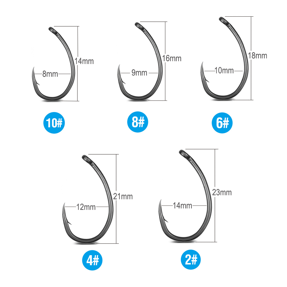 DONQL 1020pcs Barbed Fishing Hooks Set Curve Circle Fishhook Teflon Coated Fly Fishing Carp Hook For Fish Sea Accessories (4)