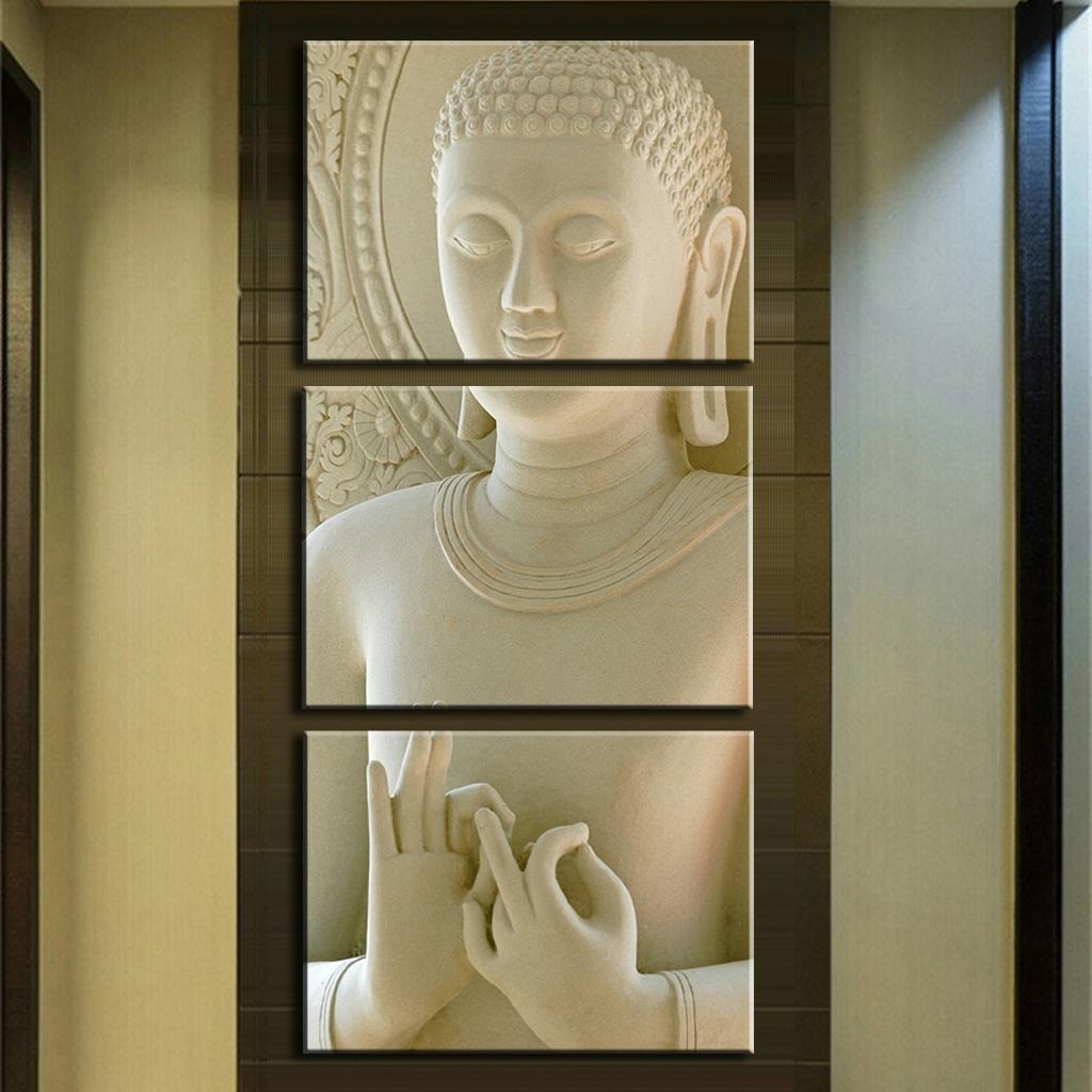 Modern Buddha Painting 3 Picture Home Decoration White marble buddha statues art canvas - John's Paintings store