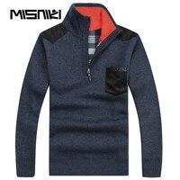 Misniki高品質秋冬メンズニットセーターカーディガンカジュアル暖かいウールプルオーバー男